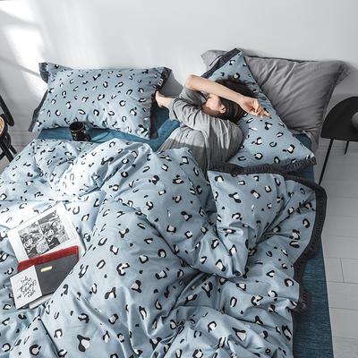 2019新款-LABO 织带风四件套 1.8m(6英尺)床 蓝豹纹