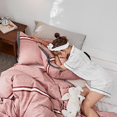 2019新款-TIKO织带风四件套 三件套1.2m(4英尺)床 粉红条纹