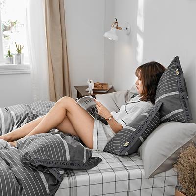 2019新款-TIKO织带风四件套 三件套1.2m(4英尺)床 深灰条纹
