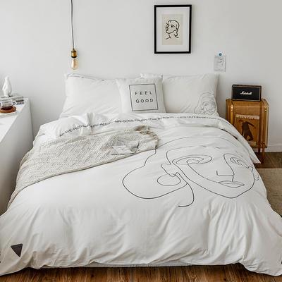 2019新款-插画线条简约四件套 1.5m(5英尺)床 纯粹白