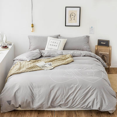 2019新款-插画线条简约四件套 1.5m(5英尺)床 简约灰