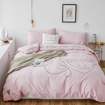 2019新款-插画线条简约四件套 1.5m(5英尺)床 可爱粉