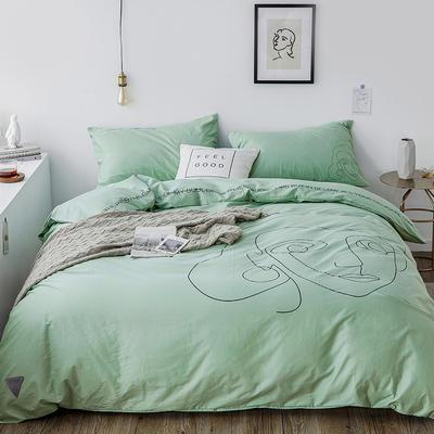 2019新款-插画线条简约四件套 1.5m(5英尺)床 靓丽绿