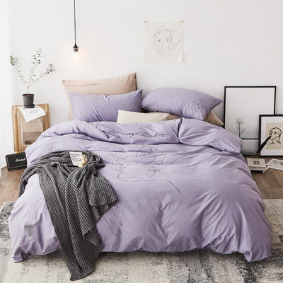 2019新款-简约插画精梳棉四件套 1.5m(5英尺)床 拥抱 紫