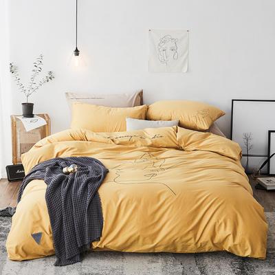 2019新款-简约插画少女四件套 1.5m(5英尺)床 拥抱 黄