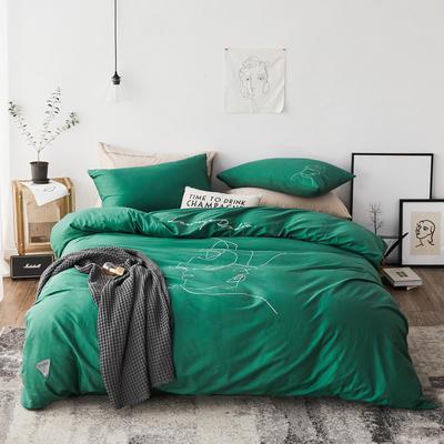 2019新款-简约插画少女四件套 1.5m(5英尺)床 拥抱 绿