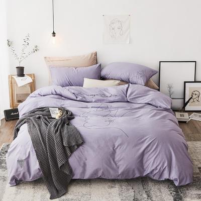 2019新款-简约插画少女四件套 1.5m(5英尺)床 拥抱 紫