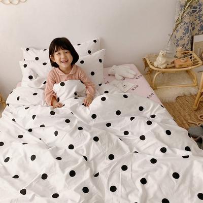 2019新款- 纯棉四件套 床单款三件套1.2m(4英尺)床 黑点点