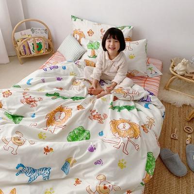 2019新款- 纯棉四件套 床单款三件套1.2m(4英尺)床 蜡笔动物园