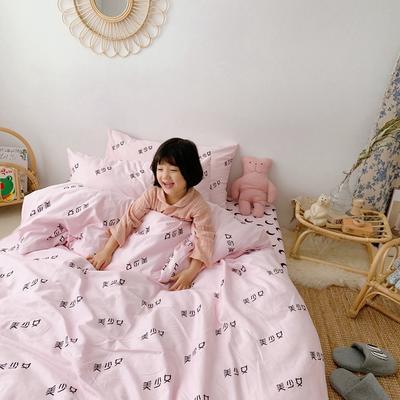 2019新款- 纯棉四件套 床单款三件套1.2m(4英尺)床 美少女