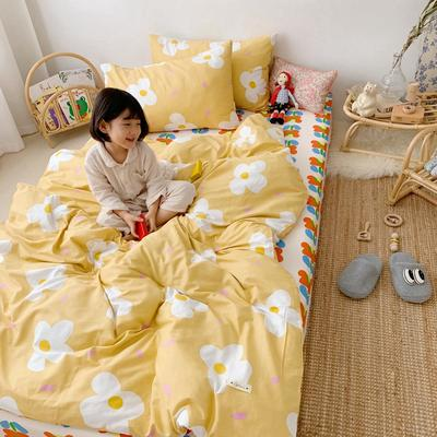 2019新款- 纯棉四件套 床单款三件套1.2m(4英尺)床 小黄花