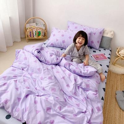 2019新款- 纯棉四件套 床单款三件套1.2m(4英尺)床 紫可爱