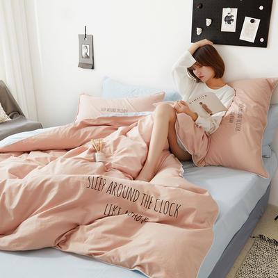 2019新款-60支简约轻奢四件套系列 床单款1.8m(6英尺)床 安睡-粉蓝