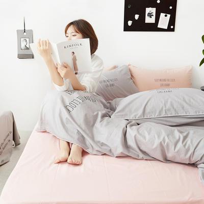 2019新款-60支简约轻奢四件套系列 床单款1.8m(6英尺)床 安睡-灰粉