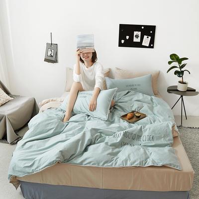 2019新款-60支简约轻奢四件套系列 床单款1.8m(6英尺)床 安睡-绿米