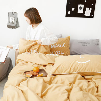 2019新款-60支简约轻奢四件套系列 床单款1.8m(6英尺)床 魔力-黄灰