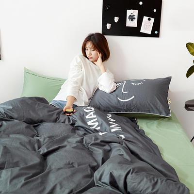 2019新款-60支简约轻奢四件套系列 床单款1.8m(6英尺)床 魔力-灰绿