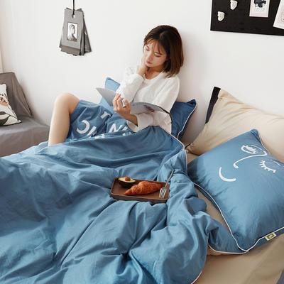 2019新款-60支简约轻奢四件套系列 床单款1.8m(6英尺)床 魔力-蓝米