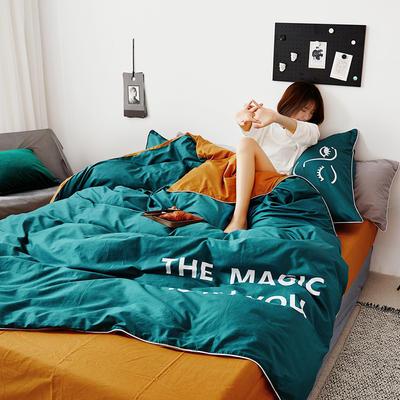 2019新款-60支简约轻奢四件套系列 床单款1.5m(5英尺)床 魔力-绿黄