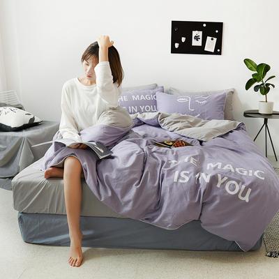 2019新款-60支简约轻奢四件套系列 床单款1.8m(6英尺)床 魔力-紫灰