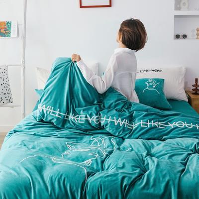2019新款-植绒绣四件套 床单款1.2m(4英尺)床 靛青