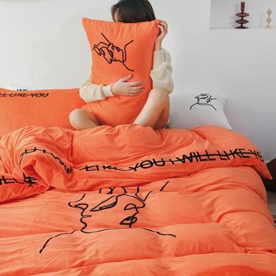 2019新款-植绒绣四件套 床单款1.2m(4英尺)床 琥珀