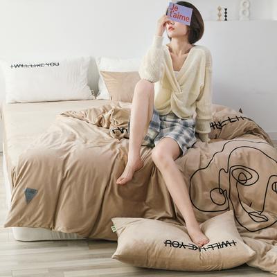 2019新款-植绒绣四件套 床单款1.2m(4英尺)床 卡其
