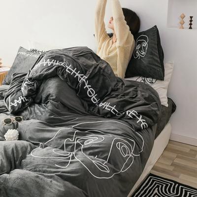 2019新款-植绒绣四件套 床单款1.2m(4英尺)床 墨灰