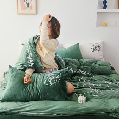 2019新款-植绒绣四件套 床单款1.2m(4英尺)床 墨沙绿