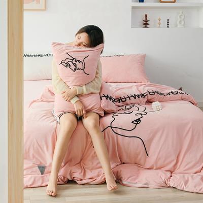 2019新款-植绒绣四件套 床单款1.2m(4英尺)床 浅藕粉