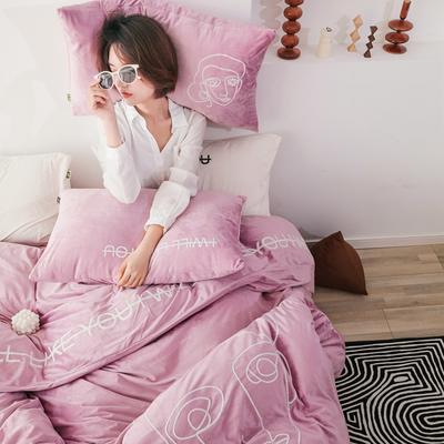 2019新款-植绒绣四件套 床单款1.2m(4英尺)床 浅紫苑