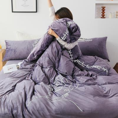 2019新款-植绒绣四件套 床单款1.2m(4英尺)床 紫水晶
