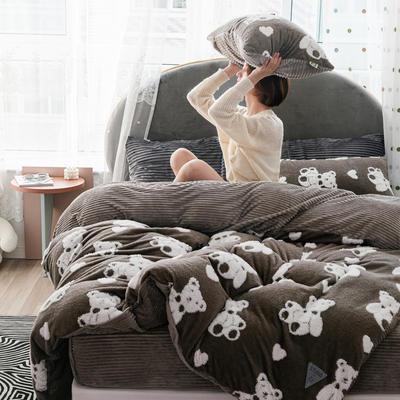 2019新款-舒棉绒提花四件套 S床单款三件套1.2m(4英尺)床 爱心熊