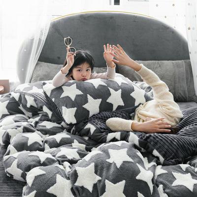 2019新款-舒棉绒提花四件套 S床单款三件套1.2m(4英尺)床 繁星点点