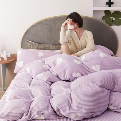 2019新款-舒棉绒提花四件套 S床单款三件套1.2m(4英尺)床 心心相印
