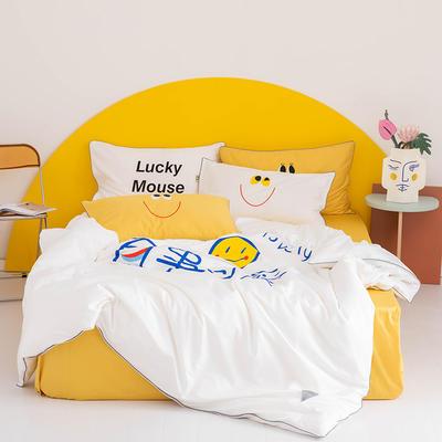 2020新款60s长绒棉卡通四件套 1.2m(4英尺)床 可爱 白