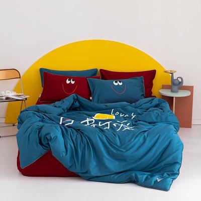 2020新款60s长绒棉卡通四件套 1.2m(4英尺)床 可爱 蓝