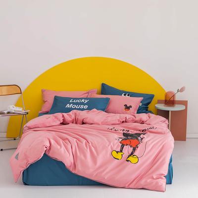 2020新款60s长绒棉卡通四件套 1.2m(4英尺)床 老鼠 粉
