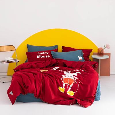 2020新款60s长绒棉卡通四件套 1.2m(4英尺)床 老鼠 红