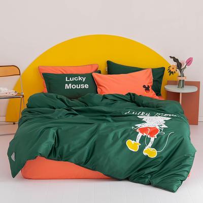 2020新款60s长绒棉卡通四件套 1.2m(4英尺)床 老鼠 绿