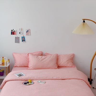 2020新款-格子嵌线款四件套实拍图 床单款三件套1.2m(4英尺)床 粉格