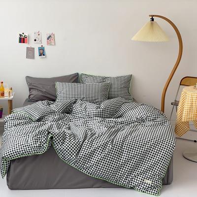 2020新款-格子嵌线款四件套实拍图 床单款三件套1.2m(4英尺)床 黑格