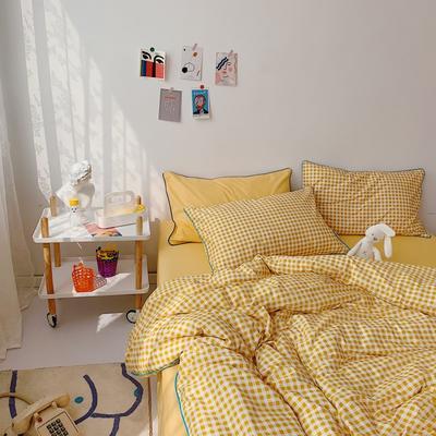 2020新款-格子嵌线款四件套实拍图 床单款三件套1.2m(4英尺)床 黄格