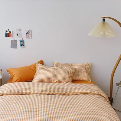 2020新款-格子嵌线款四件套实拍图 床单款三件套1.2m(4英尺)床 橘格