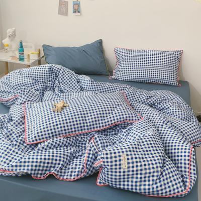 2020新款-格子嵌线款四件套实拍图 床单款三件套1.2m(4英尺)床 蓝格