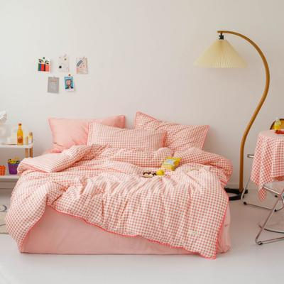 2020新款-格子嵌线款四件套影棚图 床单款三件套1.2m(4英尺)床 粉格