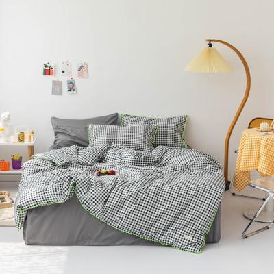 2020新款-格子嵌线款四件套影棚图 床单款三件套1.2m(4英尺)床 黑格