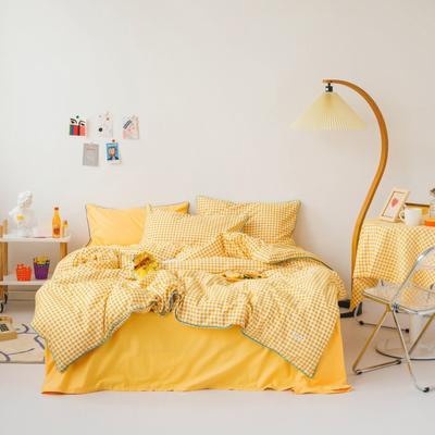 2020新款-格子嵌线款四件套影棚图 床单款三件套1.2m(4英尺)床 黄格