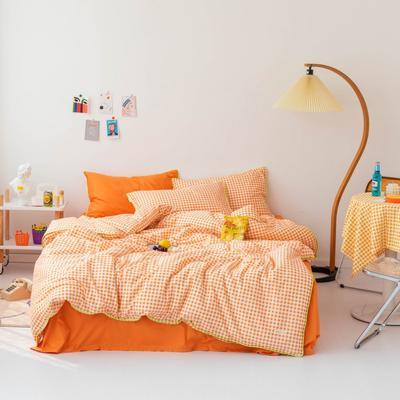 2020新款-格子嵌线款四件套影棚图 床单款三件套1.2m(4英尺)床 橘色