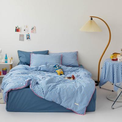 2020新款-格子嵌线款四件套影棚图 床单款三件套1.2m(4英尺)床 蓝格